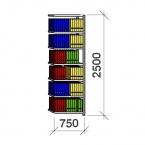 Arkivhylla följesektion 2500x750x400 200kg/hyllplan,7 hyllor