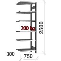 Lagerhylla följesektion 2500x750x300 200kg/hyllplan,6 hyllor