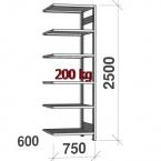 Lagerhylla följesektion 2500x750x600 200kg/hyllplan,6 hyllor