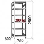 Lagerhylla startsektion 2500x750x800 200kg/hyllplan,6 hyllor