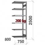 Lagerhylla följesektion 2500x750x800 200kg/hyllplan,6 hyllor