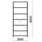 Lagerhylla startsektion 3000x1000x600 150kg/hyllplan,7 hyllor