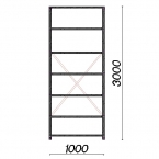 Lagerhylla startsektion 3000x1000x400 150kg/hyllplan,7 hyllor