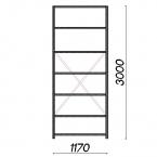 Lagerhylla startsektion 3000x1170x800 150kg/hyllplan,7 hyllor