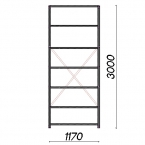 Lagerhylla startsektion 3000x1170x600 150kg/hyllplan,7 hyllor