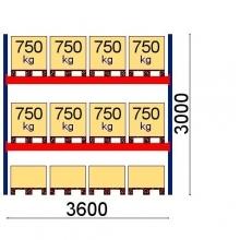 Pallställ startsektion 3000x3600 750kg/12 pallar OPTIMA