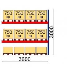 Pallställ följesektion 3000x3600 750kg/12 pallar OPTIMA
