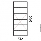 Lagerhylla startsektion 3000x750x300 200kg/hyllplan,7 hyllor