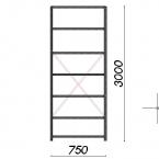 Lagerhylla startsektion 3000x750x600 200kg/hyllplan,7 hyllor