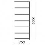 Lagerhylla följesektion 3000x750x300 200kg/hyllplan,7 hyllor