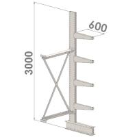 Grenställ följesektion 3000x1000x600,4 x arm