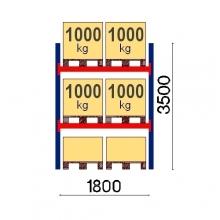 Pallställ startsektion 3500x1800 1000kg/6 pallar OPTIMA