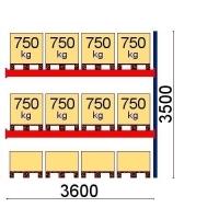 Pallställ följesektion 3500x3600 750kg/12 pallets OPTIMA