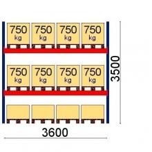 Pallställ startsektion 3500x3600 750kg/12 pallar OPTIMA