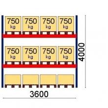 Pallställ startsektion 4000x3600 750kg/12 pallar OPTIMA