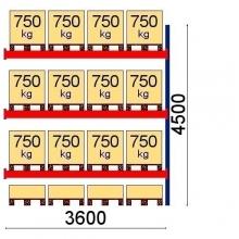 Pallställ följesektion 4500x3600 7500kg/16 pallar OPTIMA