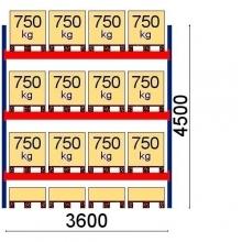 Pallställ följesektion 4500x3600 750kg/16 pallar OPTIMA