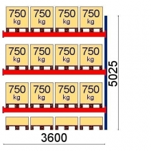 Pallställ följesektion 5025x3600 750kg/16 pallar OPTIMA