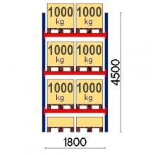 Pallställ startsektion 4500x1800 1000kg/8 pallar OPTIMA