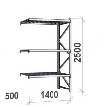 Lagerhylla följesektion 2500x1400x500 600kg/hyllplan,3 hyllor