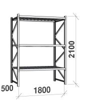 Lagerhylla startsektion 2100x1800x500 480kg/hyllplan,3 hyllor