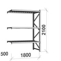 Lagerhylla följesektion 2100x1800x500 480kg/hyllplan,3 hyllor