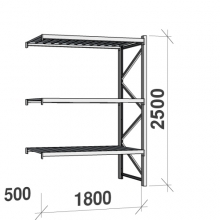 Lagerhylla följesektion 2500x1800x500 480kg/hyllplan,3 hyllor