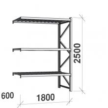 Lagerhylla följesektion 2500x1800x600 480kg/hyllplan,3 hyllor