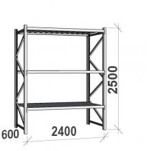 Lagerhylla startsektion 2500x2400x600 300kg/hyllplan,3 hyllor