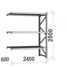 Lagerhylla följesektion 2500x2400x600 300kg/hyllplan,3 hyllor