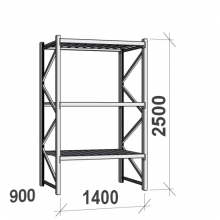 Lagerhylla startsektion 2500x1400x900 600kg/hyllplan,3 hyllor