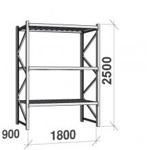 Lagerhylla startsektion 2500x1800x900 480kg/hyllplan,3 hyllor