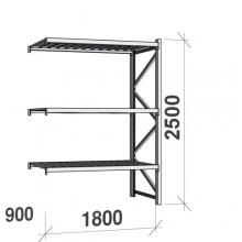 Lagerhylla följesektion 2500x1800x900 480kg/hyllplan,3 hyllor
