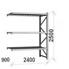 Lagerhylla följesektion 2500x2400x900 300kg/hyllplan,3 hyllor