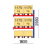 Pallställ följesektion 2550x1800 1170kg/6 pallar