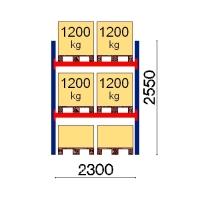 Pallställ startsektion 2550x2300 1200kg/6 pallar