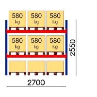 Pallställ startsektion 2550x2700 580kg/9 pallar