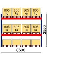 Pallställ startsektion 2550x3600 805kg/12 pallar