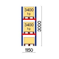 Pallställ startsektion 3000x1150 3400kg/3 pallar