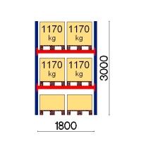 Pallställ startsektion 3000x1800 1170kg/6 pallar