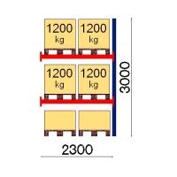 Pallställ följesektion 3000x2300 1200kg/6 pallar