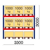 Pallställ startsektion 3000x3300 1000kg/9 pallar