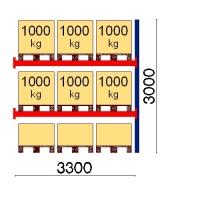 Pallställ följesektion 3000x3300 1000kg/9 pallar