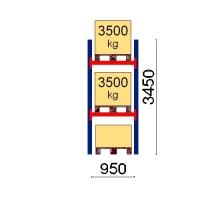 Pallställ startsektion 3450x950 3500kg/3 pallar