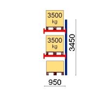Pallställ följesektion 3450x950 3500kg/3 pallar