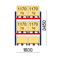 Pallställ startsektion 3450x1800 1170kg/6 pallar