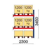 Pallställ följesektion 3450x2300 1200kg/6 pallar
