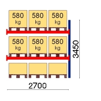 Pallställ följesektion 3450x2700 580kg/9 pallar