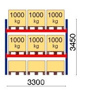 Pallställ startsektion 3450x3300 1000kg/9 pallar