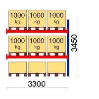 Pallställ följesektion 3450x3300 1000kg/9 pallar